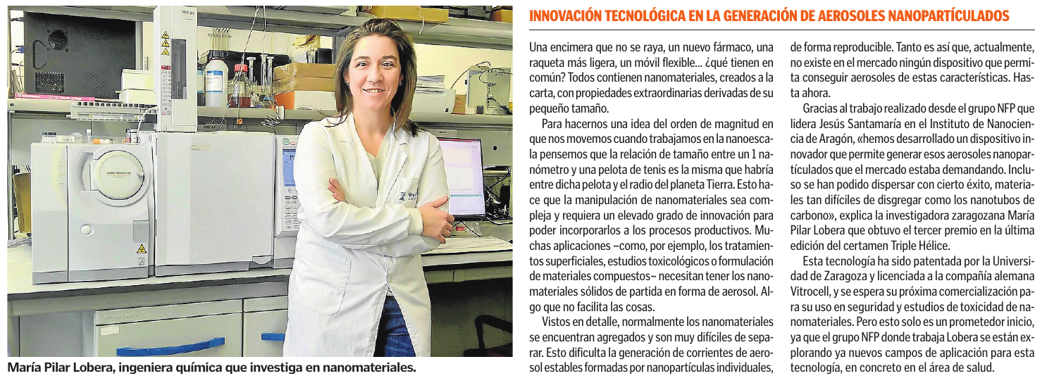 Heraldo de Aragón. Innovación Tecnológica En La Generación De Aerosoles Nanopartículados