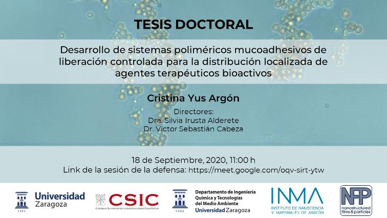 Próxima defensa tesis: Cristina Yus