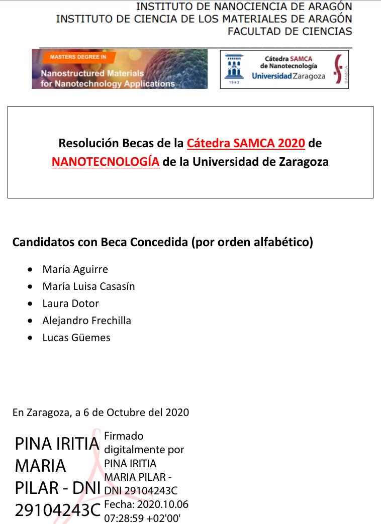 Resolución convocatoria Becas Cátedra SAMCA de Nanotecnología